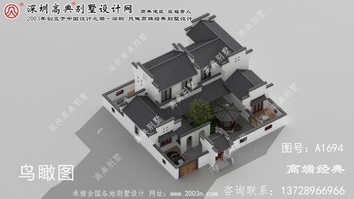 咸丰县乡间风格的中式别墅设计图纸和效果图。