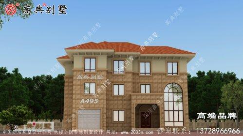 农村房屋设计图三层宽阔大门,全景开窗