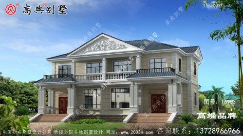 双拼二层小别墅外观效果图配色简约大气,造型