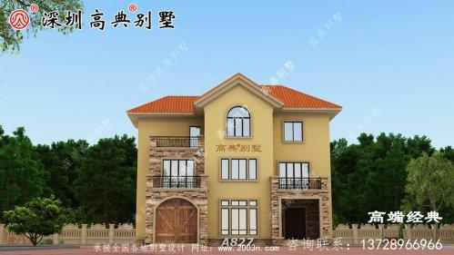 别墅建房实拍图及全套建筑施工图,带车库,建成效果很棒