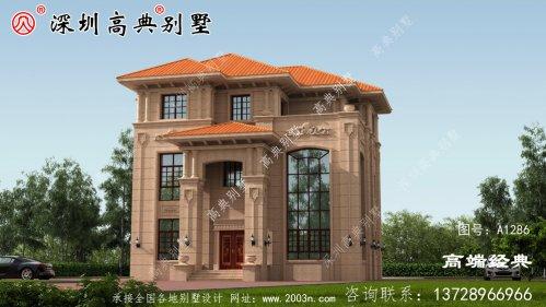 三层新型别墅,带有挑空客厅和旋转楼梯,时尚大气。