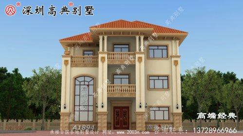 经典欧式三层别墅设计图,外形独特,造型美观,农村生活想低调都不行!