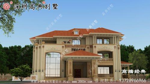 自建三层小楼房设计图,美观大方,外观时尚