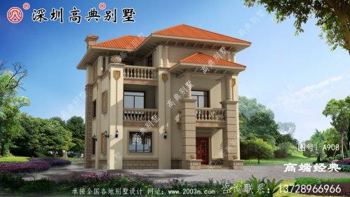 农村建造三楼小楼,外观美观,是回乡盖房子的第一选择。
