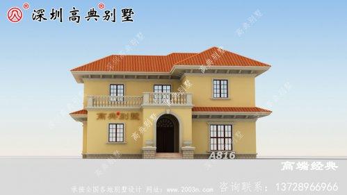 乡村自建两层楼的设计图,外观大气款,看着就有面子。